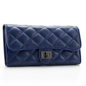 TPYL Genuine Leather Quilted Long Women Clutch Purses Trifold Card Case Wallets