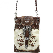 Justin West Western Buckle Embroidered Flower Rhinestone CrossBody Mini Handbag Phone Messenger Purse