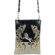 Justin West Western Embroidered Weaved Tooled Horse CrossBody Mini Handbag Phone Messenger Purse