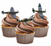 Spitfire Plane Mix Edible Stand Up Cup Cake Toppers WW1 WW2 Decorations Birthday