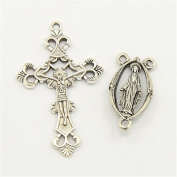 Pandahall 10sets Rosary Cross and Centre Sets for Rosary Bead Necklace Making, Alloy Crucifix Cross Pendants and Virgin Links Antique Silver
