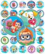 60 Precut 2.5cm BUBBLE GUPPIES Bottle Cap Images A