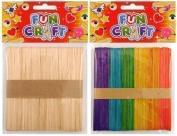 Coloured 50 x Lollipop Ice Lolly Childrens Kids Art Craft Wooden Sticks