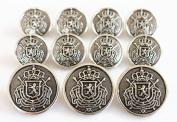 YCEE Premium New 11 Pieces Silver Metal Blazer Button Set - Heraldic Lion - For Blazer, Suits, Sport Coat, Uniform, Jacket