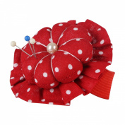 Neoviva Fabric Coated Flower Shaped Pin Cushion with Wrist Band for Short Pins and Needles, Polka Dot Red