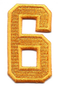 """NUMBERS-Golden Yellow Number """"6"""" (1 7/8"""") - Iron On Embroidered Applique/Numbers"""