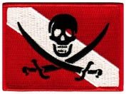 Jolly Roger Diver Down Flag Patch Embroidered Iron On Scuba Diving Skull Pirate Emblem Souvenir