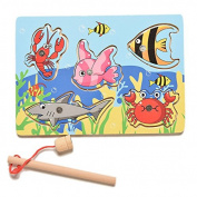 BESTIM INCUK Magnetic Wooden Fishing Game Toy Fishing Jigsaw Puzzle Game Board