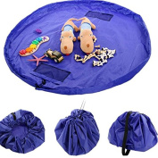 Vonreach 150cm Portable Toy Storage Bag and Kids Play Mat Toys Organiser Blue