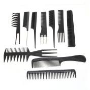 Foxpic Pro 10pcs Anti-static Hair Comb Set Salon Hairdresser Barber Styling Tool Black