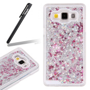 Samsung Galaxy J5 Case,Ukayfe Samsung Galaxy J5 Glitter Case,3D Liquid Flowing Floating Sparkle Bling Glitter Star Love Hearts Design Transparent Plastic Hard Shell Case Cover for Samsung Galaxy J5 with 1 x Black Stylus - Silver Glitter