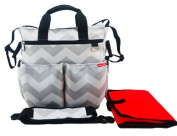 NimNik Baby Nappy Bags Chevron w/ Changing Mat Best Quality Designer Nappies Bag for Girls Boys Twins, Shower Gifts for Mom Dad