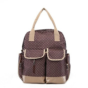 4 Piece Nappy Nappy 3 in 1 Bag / Backpack With Baby Wipe Dispenser Pocket Polka Dots Brown