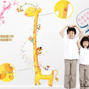 Asunflower®Loving Giraffe Bear Peel and Stick Growth Chart Wall Sticker Decals Kids Boys Room Decor Wall Sticker Art Home Decoration