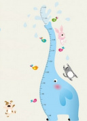 Good Life Blue Elephant Measurement Height Chart with Cat Dog and Rabbit Birds Nursery Room Wall Decal Sticker