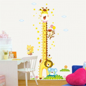 ufengke Animal Park Cute Cartoon Giraffe Stars Height Chart Decals, Children's Room Nursery Removable Wall Stickers Murals
