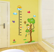 ufengke Cartoon Sky Smiling Monkey Tree Height Chart Decals, Children's Room Nursery Removable Wall Stickers Murals