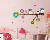 Free Will Colourful Owls on the Tree Branch Vinyl Wall Decals Sticker for Nursery Babys' Room Decor