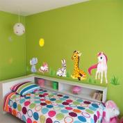 ufengke Cartoon Animals Elephant Giraffe Unicorn Wall Decals, Children's Room Nursery Removable Wall Stickers Murals