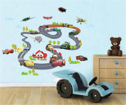 ufengke Cartoon Racing Car Aircraft Wall Decals, Children's Room Nursery Removable Wall Stickers Murals