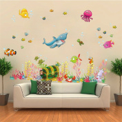 ufengke Cartoon Underwater World Cute Shark and Divers Fish Wall Decals, Children's Room Nursery Removable Wall Stickers Murals