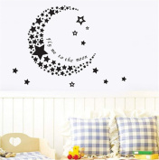 "ufengke ""FLY ME TO THE MOON"" Stars and Moon Wall Decals, Children's Room Nursery Removable Wall Stickers Murals"