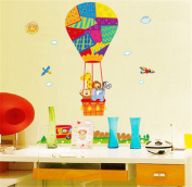 ufengke Cartoon Animals and Hot-Air Balloon Wall Decals, Children's Room Nursery Removable Wall Stickers Murals