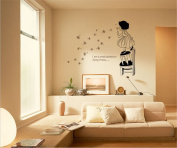 ufengke Lovely Little Girl Flying Dandelion Wall Decals, Children's Room Nursery Removable Wall Stickers Murals