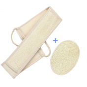 CareforYou® 2PCS Beige Exfoliating Body Sponge Loofah Loofa Back Strap Bath Shower Body Brush Scrubber