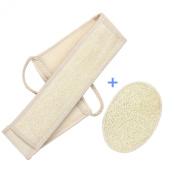 CareforYou® 2PCS Beige Exfoliating Body Sponge Loofah Loofa Back Strap Bath Shower Body Brush Scrubber