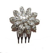 STUNNING CRYSTAL FLOWER CLUSTER HAIR SIDE COMB - RHINESTONES BRIDAL WEDDING BRIDAL PROM