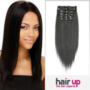 38cm Clip In On Human Hair Extensions_7pcs Natural Black_1b_Remy Human Hair Full Head Straight_70g Weight by Hairup