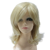Capless Blonde Mixed Colour Short Straight Side Bangs Layer Synthetic Hair Wig for Women Party Wigs