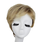 Capless Mixed Colour Short Straight Side Bangs Layer Synthetic Hair Wig