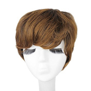 Capless Mixed Colour Short Wavy Side Bangs Layer Synthetic Hair Wig
