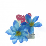 Orchid Style Hair flowers in Blues x 2 hair grips on a card