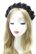 Black Rose Flower Hair Crown Headband Garland Silver Small Festival Boho Vtg V35 *EXCLUSIVELY SOLD BY STARCROSSED BEAUTY*
