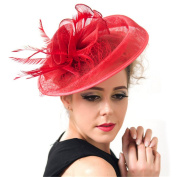 Fabulous Women Veiling Gauze Mesh Bridal Hat Headband Crown Lace Hairdress Fascinator Party Wedding Accessory red