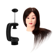 Anself 60cm Mannequin Training Head with Stand 65% Real Hair Salon Hairdressing Practise Model