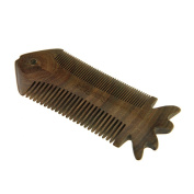Dual Action Beard Comb Green Sandalwood Detangling Hair Anti-Static Flatfish Poket Comb Birthday Christmas Gift