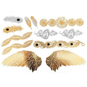 Cokohappy Metallic Temporary Tattoo , Bling Gold Silver Feather Angel Wing Flower Leaf Totem Fake Jewellery Tattoo , Sexy Body-Art Long-Lasting for Men Women