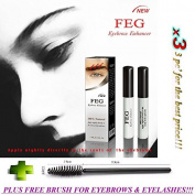 3 X FEG Eyebrow Enhancer Growth Liquid/Serum. 100% Original with Anti-Fake sticker!!! + FREE BRUSH FOR EYELASHS AND EYEBROWS!!!