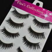 Vivi's Collection 5 Pairs V136 Natural Eyelashes Black False Eye Lashes