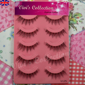 Vivi's Collection 5 Pairs V125 Petal Natural Eyelashes Black False Eye Lashes
