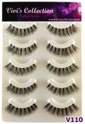 Vivi's Collection 5 Pairs V110 Natural Eyelashes Black False Eye Lashes