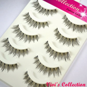Vivi's Collection 5 Pairs V102 Natural Eyelashes Black False Eye Lashes