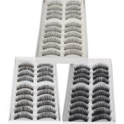 30 Pairs Black Long & Thick Reusable False Eyelashes Fake Eye Lash for Makeup Cosmetic - 3 Kinds of Style by Nails gaga