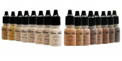 Airbrush Make up by Glam Air Set Of 16 Shades Of Matte Airbrush Makeup Foundation Water Based Long Lasting 5ml Bottles