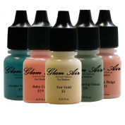 "Airbrush Make up by Glam Air ""The Spring Collection"" 5 Shades Water-Based Formula Last Over 18 Hours"
