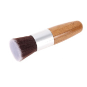 Foxpic Professional Flat Top Bamboo Foundation Brush Bamboo Handle Single Brush Multifunctional Make Up Brush Powder Brush Blush Brush Cosmetic Brush for Liquids, Creams, Powders and Mineral Makeup